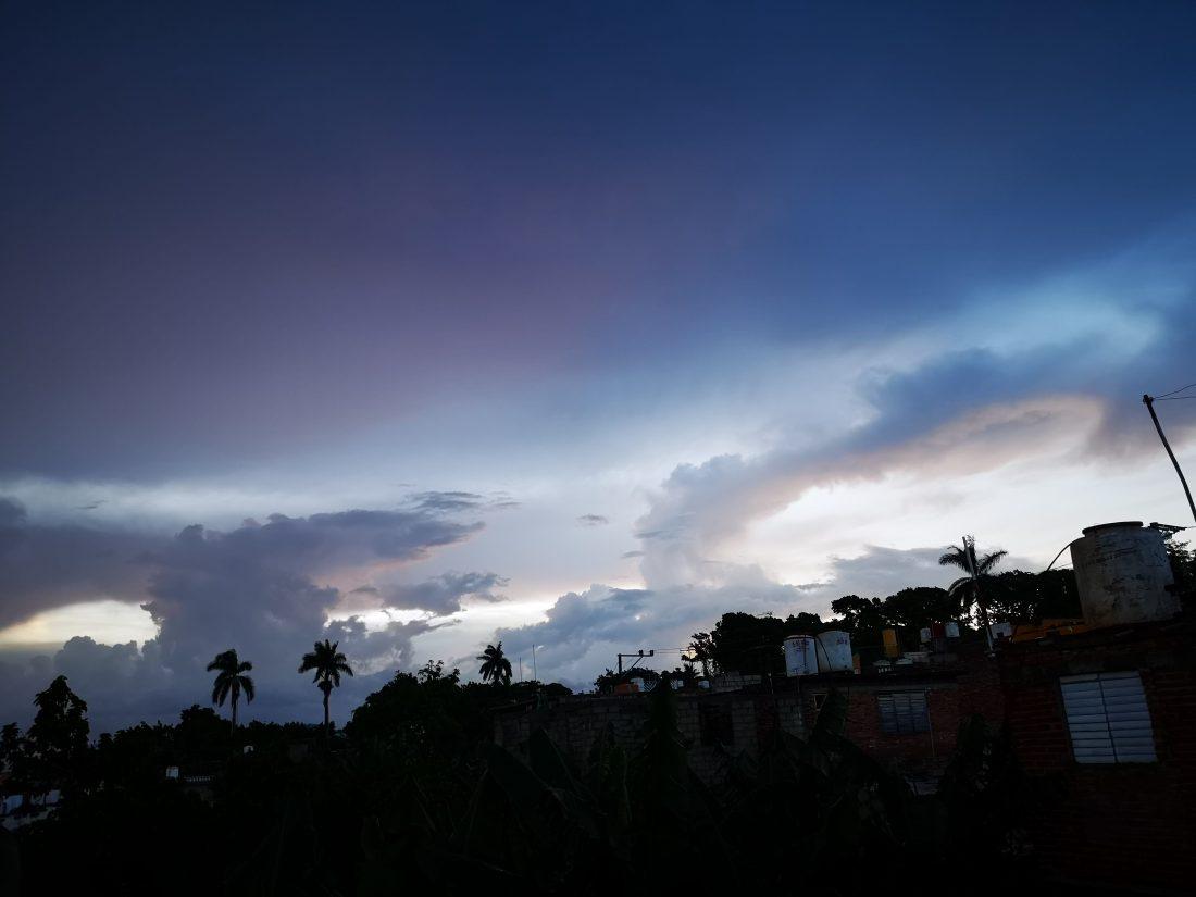 Solnedgang fra terassen i vårt gjestehus på Cuba