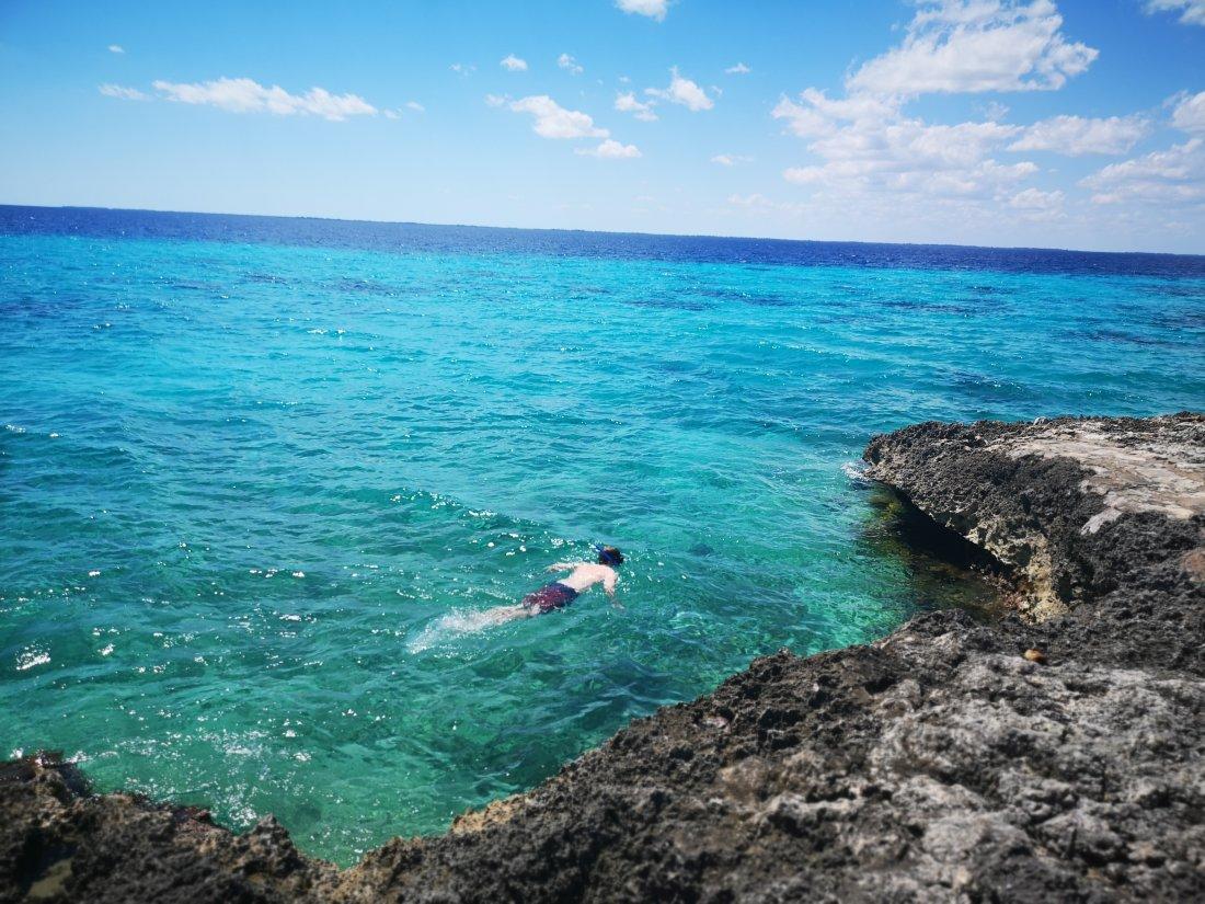 Snorkling i Playa Larga. Playa Larga ligger i Grisebukta.